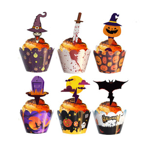 2020 New-design Halloween Cupcake Wrapper with Topper (24 Sets)