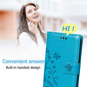 Samsung Galaxy A21 PU Leather Embossed Butterfly Flower Case With Wrist Strap