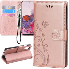 Load image into Gallery viewer, Samsung Galaxy A21 PU Leather Embossed Butterfly Flower Case With Wrist Strap