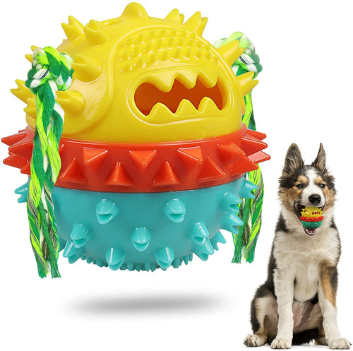 Chew Squeaky Toothbrush Toy Float Ball for Small/Medium/Large Dogs