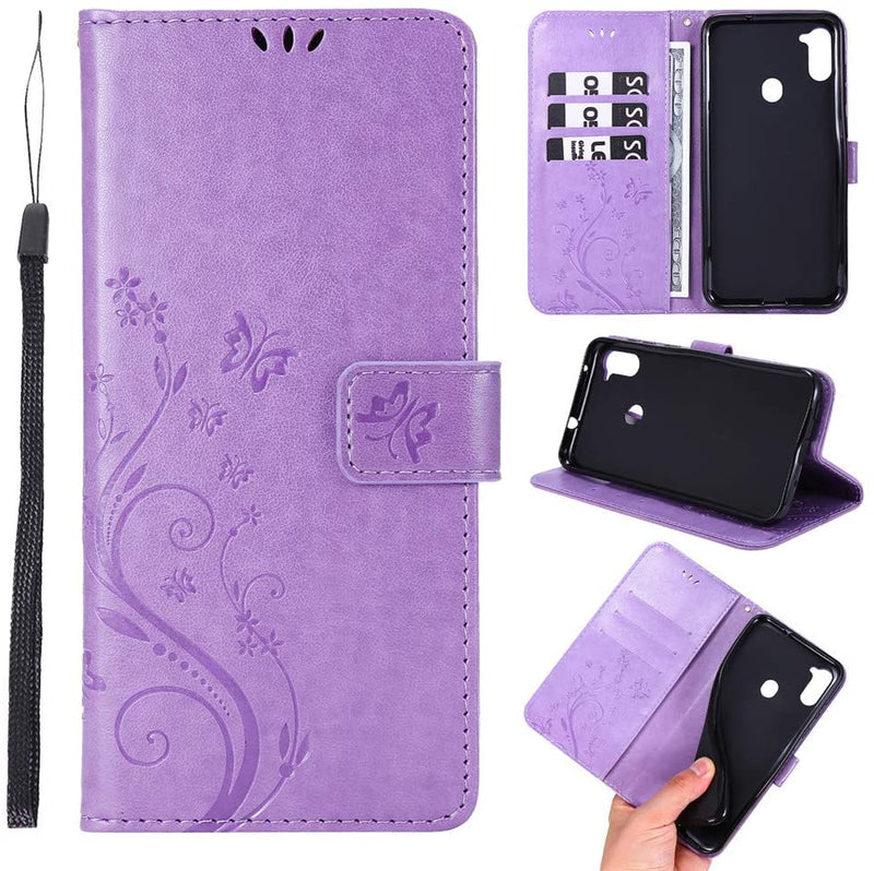 Galaxy A11 PU Leather Embossed Butterfly Flower Case With Wrist Strap