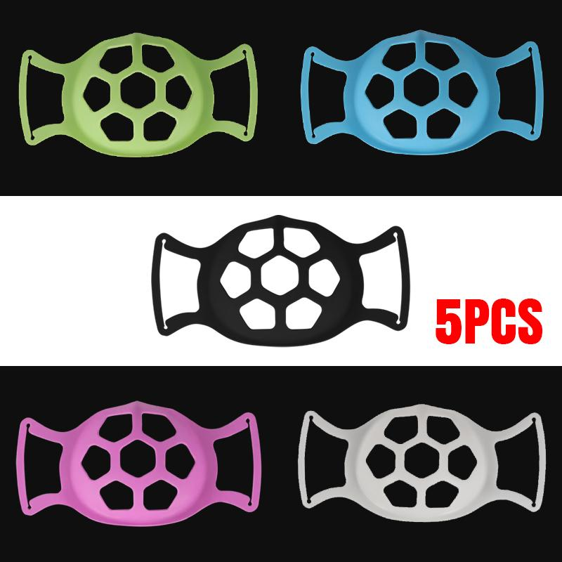 5Pcs 3D Softer Face Mask Bracket, 5Colors