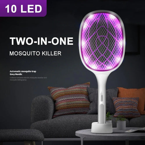 2-in-1 USB Rechargeable 10 LED Mosquito killer lamp + Mosquito swatter