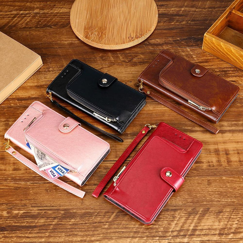 Multifunctional Zipper Wallet Leather Flip Phone Case For Samsung