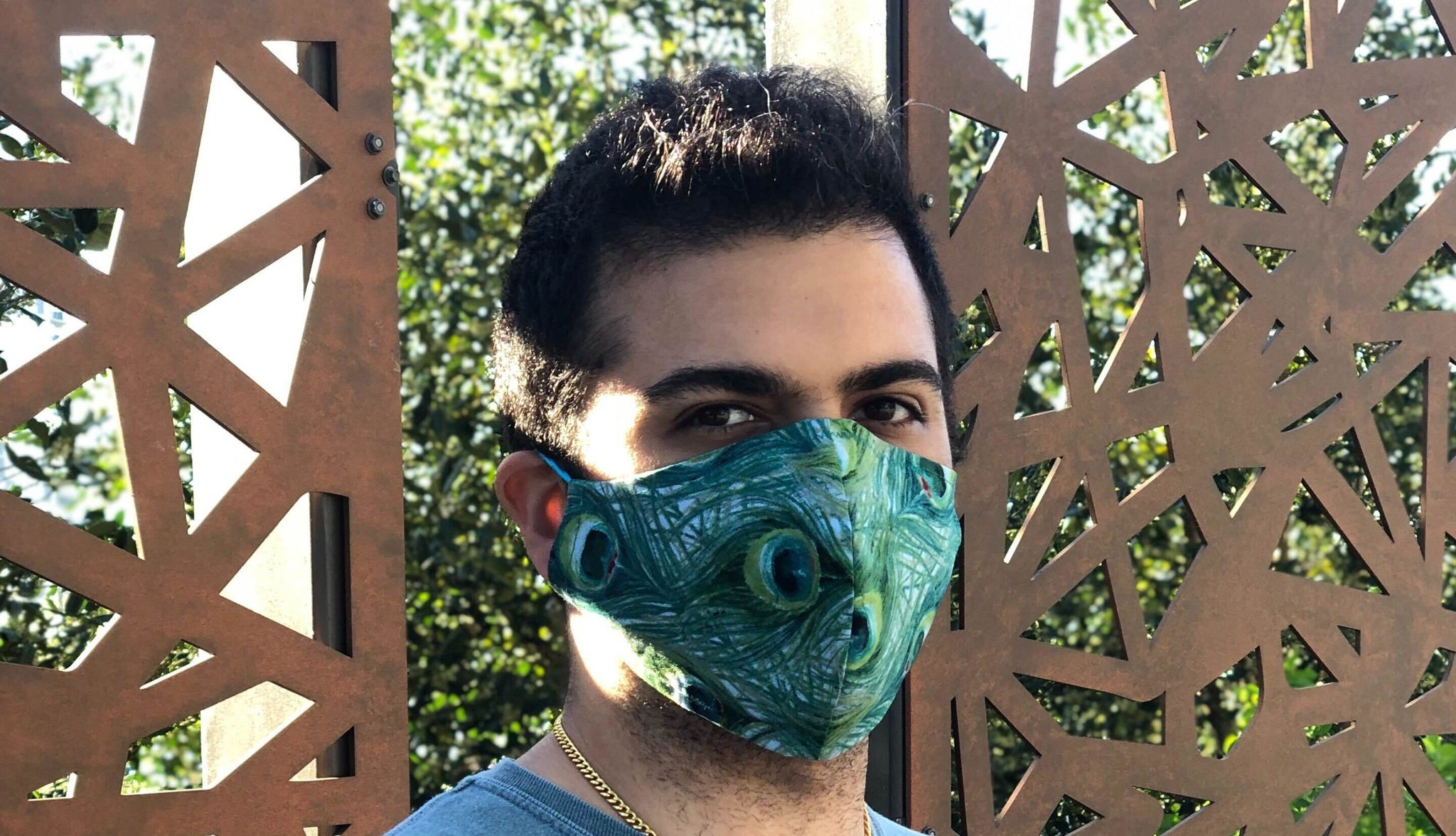 Peacock face masks model photo
