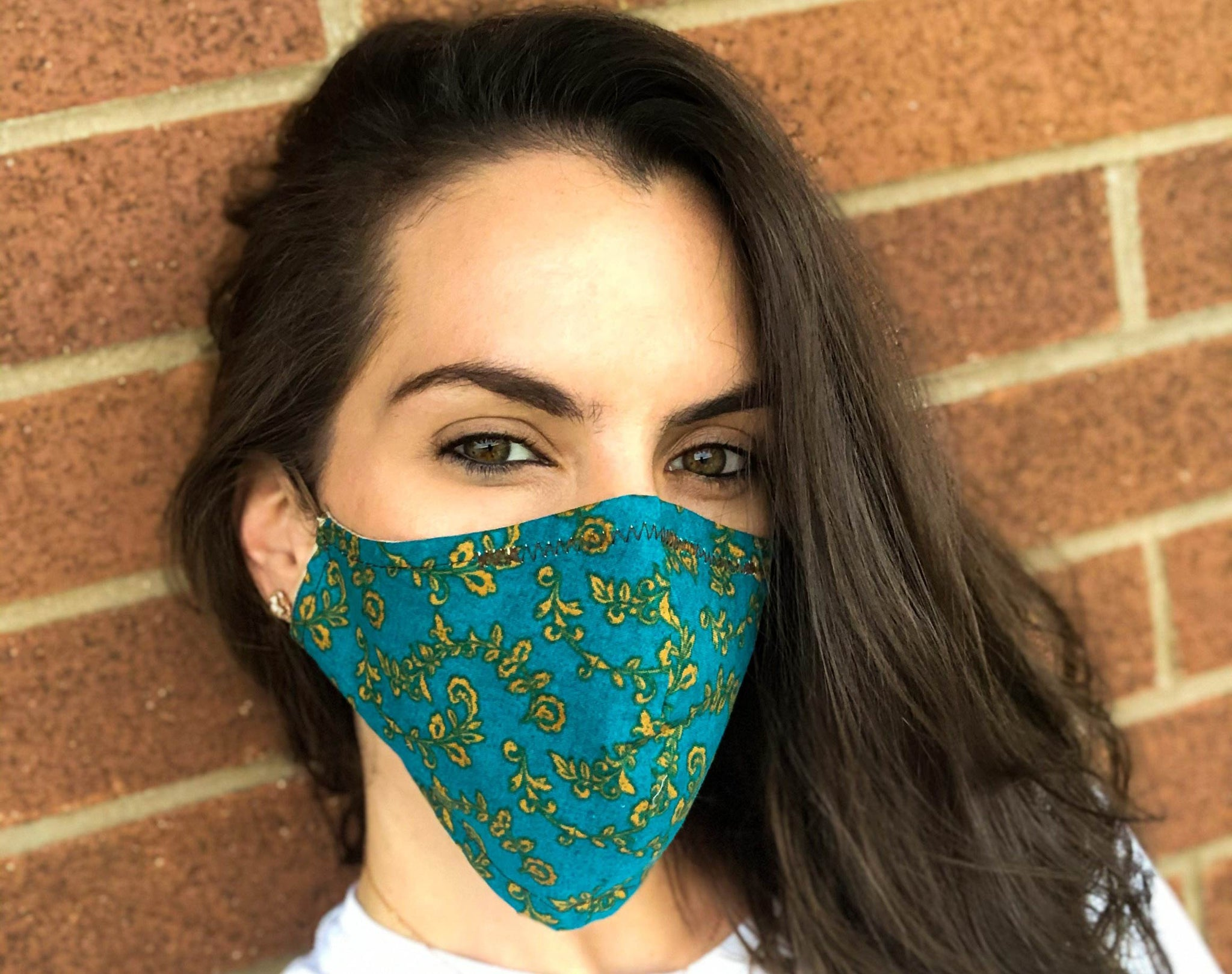 Mystic Green face masks model photo