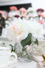 Cote Noire -Herringbone Flower-Blush & White Roses - Clear -HCF07 - Eliza Moore Boutique