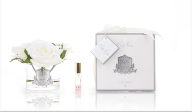 Cote Noire Perfumed Natural Touch 5 Roses - Clear Glass Silver Crest- Ivory White - GMR61 freeshipping - Eliza Moore Boutique