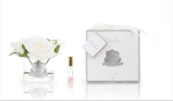 Cote Noire Perfumed Natural Touch 5 Roses - Clear Glass Silver Crest- Ivory White - GMR61 - Eliza Moore Boutique