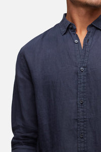 Industrie Men's The Tennyson Linen L/S Shirt - OD Navy