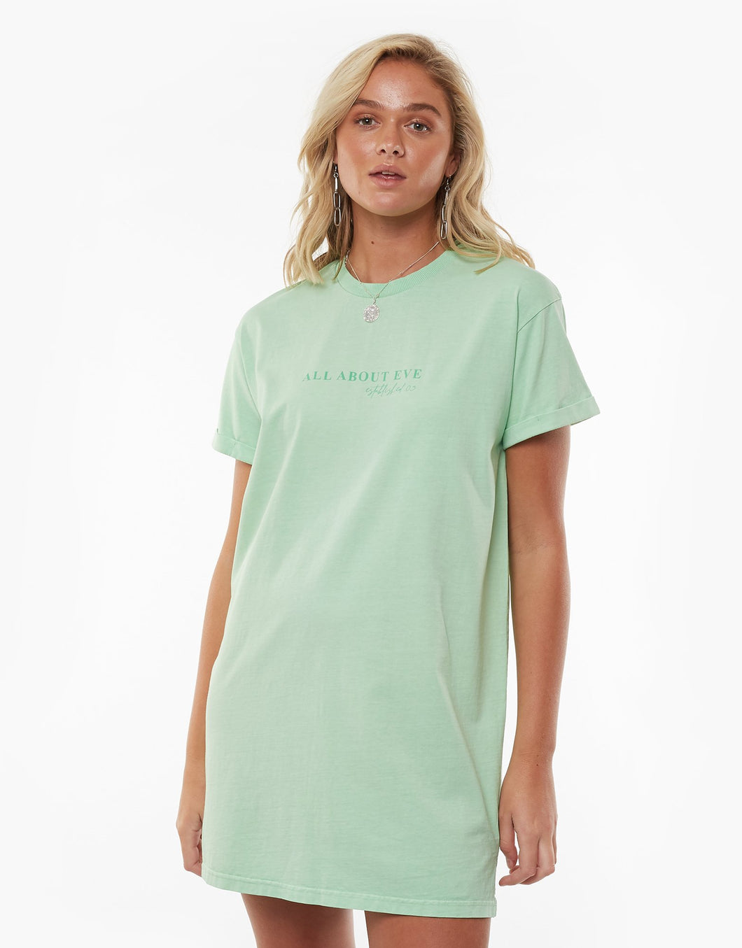 All About Eve Ladies Washed Tee Dress - Mint
