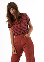 Load image into Gallery viewer, Afends Ladies Hemp Basics Stripe Tee - Brick