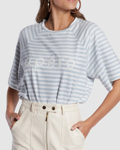 Apero Ladies Boi Stripe Oversized Tee - White/Blue