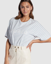 Load image into Gallery viewer, Apero Ladies Boi Stripe Oversized Tee - White/Blue