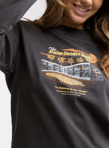 Rhythm Ladies Palm Desert Vintage Long Sleeve Tee - Vintage Black