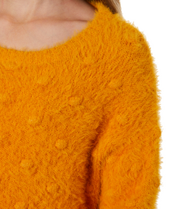 Eve Girl Bobble Fluffy Knit - Mustard