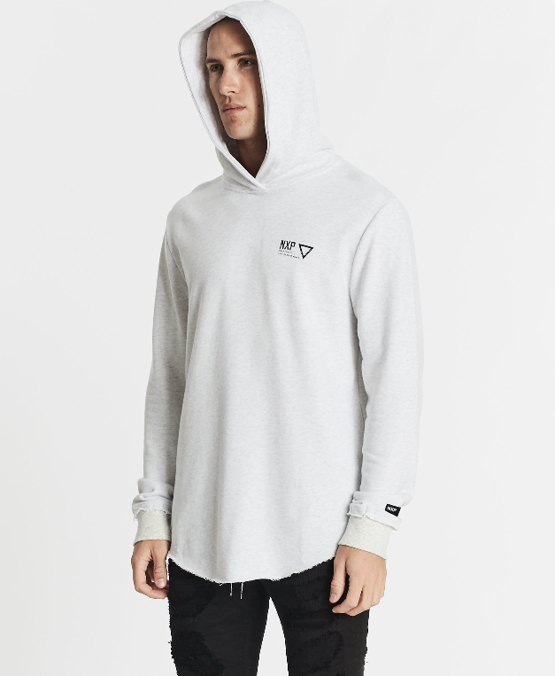 Nena & Pasadena Men's Renounce Hooded Dual Curved Sweater - Snow Marle