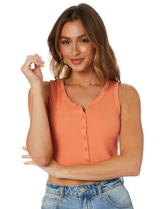 All About Eve Ladies Leah Button Up Tank - Orange