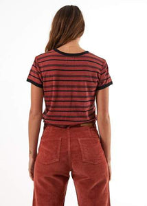 Afends Ladies Hemp Basics Stripe Tee - Brick