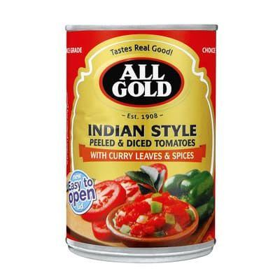 All Gold Indian Style Peeled & Diced Tomatoes 410G