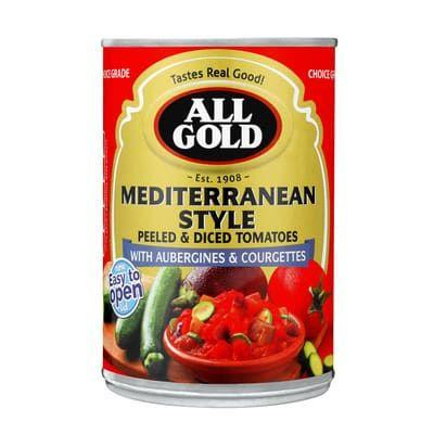 All Gold Mediteranean Style Peeled & Diced Tomatoes 450G