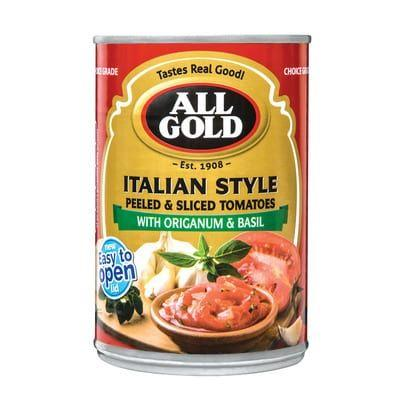 All Gold Italian Style Peeled & Sliced Tomatoes 410G