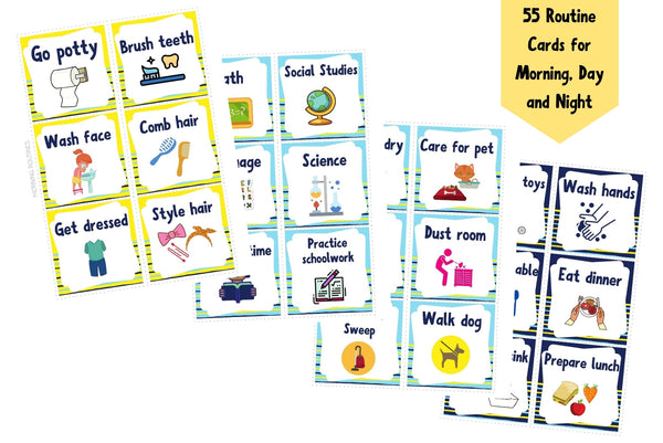 Daily Routine Cards (Toddler Routine Chart, Kids Daily Rhythm Cards)