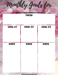 Monthly Goal Setting Sheet