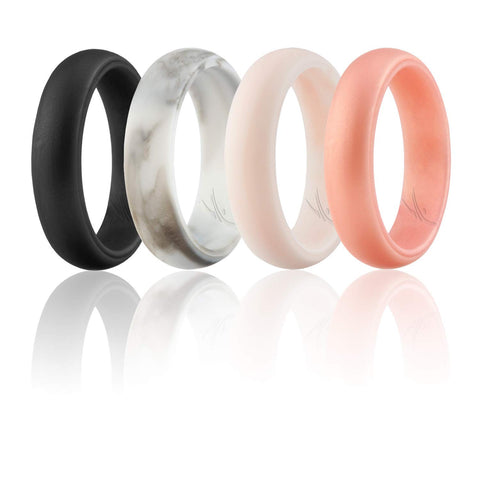 Silicone Wedding Ring for Women, Set of 4