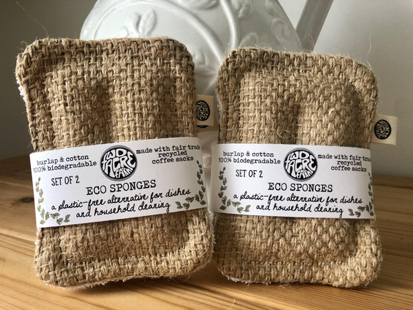 Eco Sponges set of 2 made from burlap and cotton