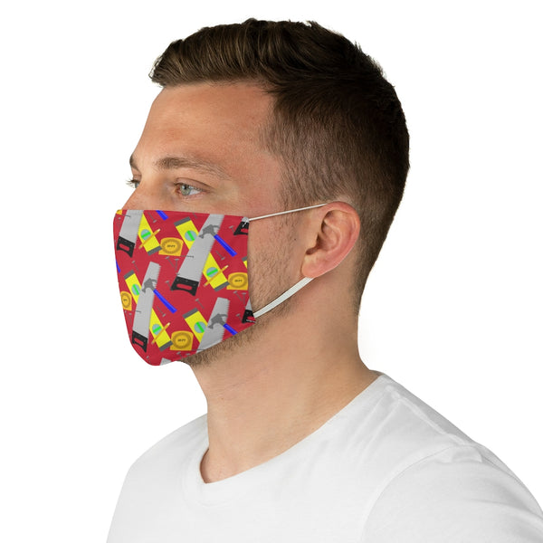 Fabric Face Mask - Construction Tools, Red