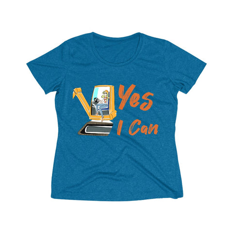 Heather Wicking Tee (Asst Colors) - Yes I Can, Heavy Equipment Operator