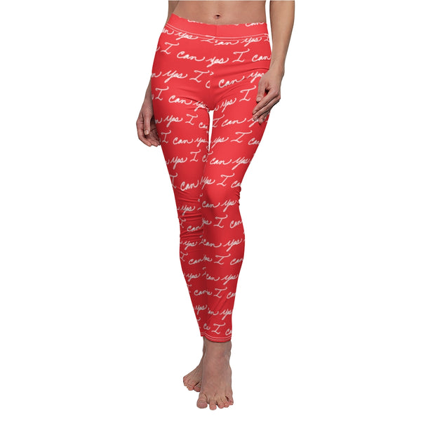 Women's Casual Leggings - Yes I can, Red