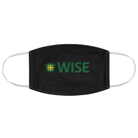 Fabric Face Mask - Black, Center WISE Logo