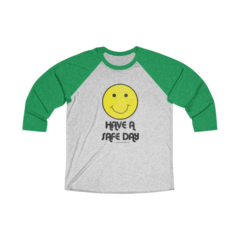 Unisex Tri-Blend 3/4 Raglan Tee (Asst Colors) - Retro Happy Face