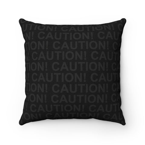 Spun Polyester Square Pillow - Caution Tape Shadow