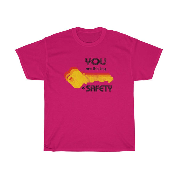 Unisex Basic Cotton Tee (Asst Colors) - Orange Retro Key to Safety