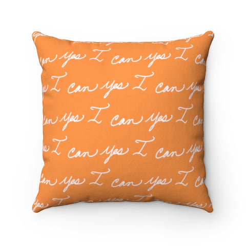 Spun Polyester Square Pillow, Asst. Sizes - Yes I can, Orange