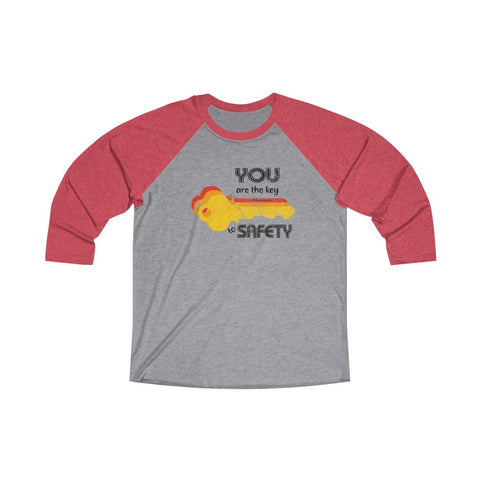 Unisex Tri-Blend 3/4 Raglan Tee (Asst Colors) - Your are the key, Orange