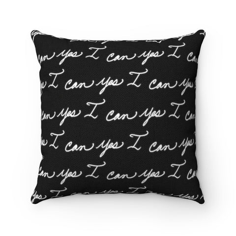 Spun Polyester Square Pillow, Asst. Sizes - Yes I can, Black