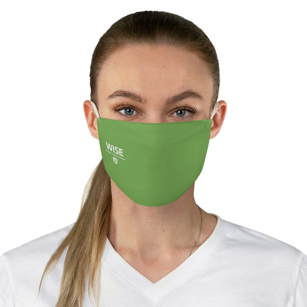 Fabric Face Mask - Light Green, WISE Side Logo