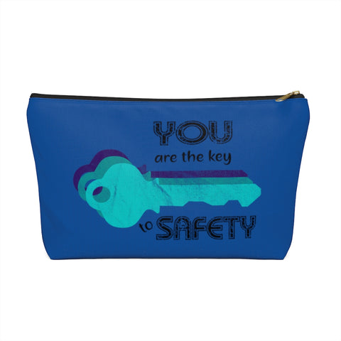 Accessory Pouch w T-bottom - Key to Safety, Blue