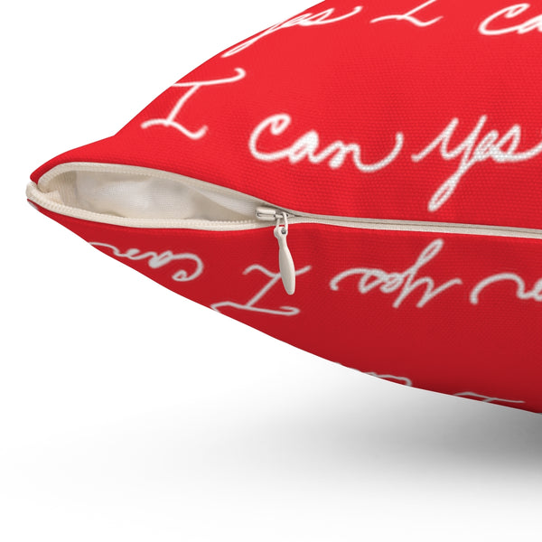 Spun Polyester Square Pillow, Asst. Sizes - Yes I can, Red