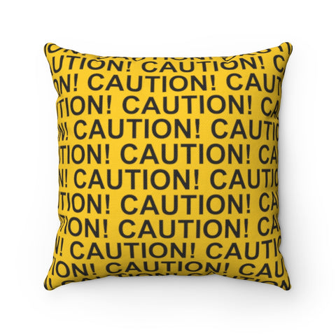 Spun Polyester Square Pillow - Caution Tape