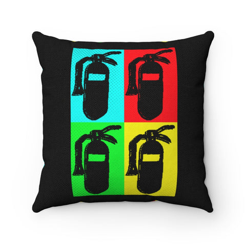 Spun Polyester Square Pillow - Pop Art Fire Extinguisher