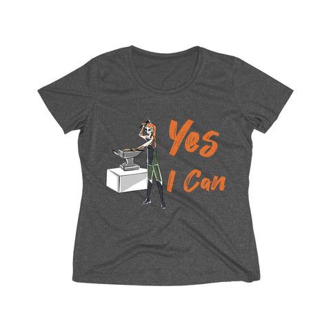 Heather Wicking Tee (Asst Colors) - Yes I Can, Blacksmith