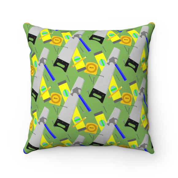 Spun Polyester Square Pillow - Construction Tools, Green