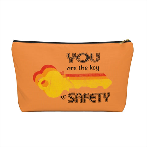 Accessory Pouch w T-bottom - Key to Safety, Orange