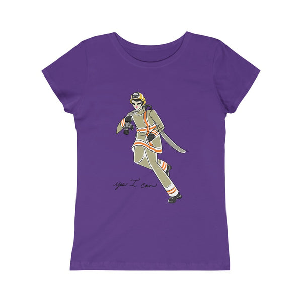 Kids Princess fit Tee (Asst Colors) - Yes I can, Firefighter