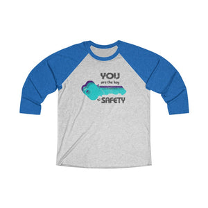 Unisex Tri-Blend 3/4 Raglan Tee (Asst Colors) - Your are the key, Blue